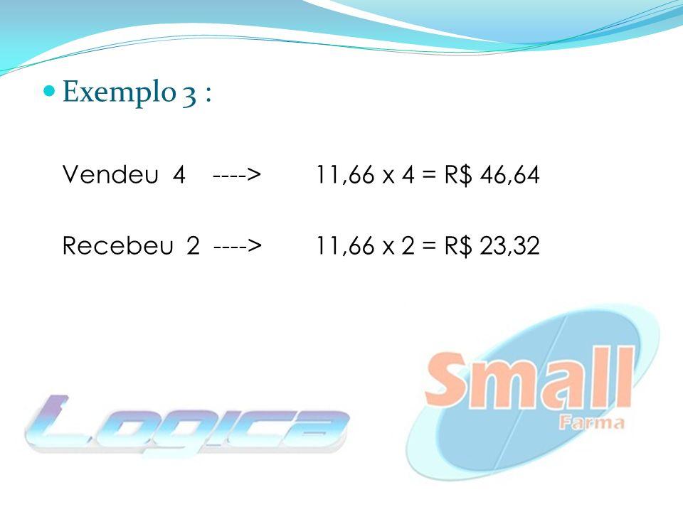 Exemplo 3 : Vendeu 4 ---->11,66 x 4 = R$ 46,64 Recebeu 2 ----> 11,66 x 2 = R$ 23,32