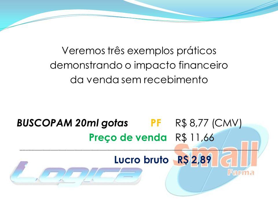 Veremos três exemplos práticos demonstrando o impacto financeiro da venda sem recebimento BUSCOPAM 20ml gotas PF R$ 8,77(CMV) Preço de venda R$ 11,66