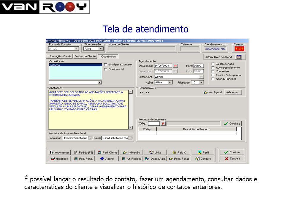 Tela de gerenciamento de ligações ativas. O sistema apresenta as ligações a serem feitas ao operador conforme a ocorrência lançada A discagem para o c