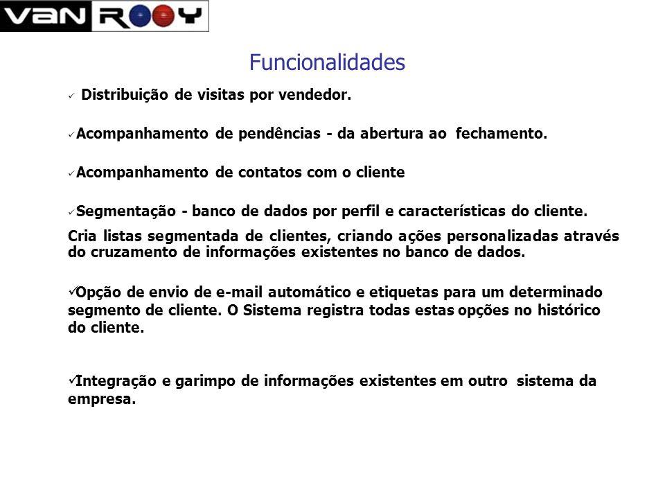 Funcionalidades Permite lançamento de resultados originados através de canais de contato como : Telefone receptivo, telefone ativo, Visitas, e-mail, a