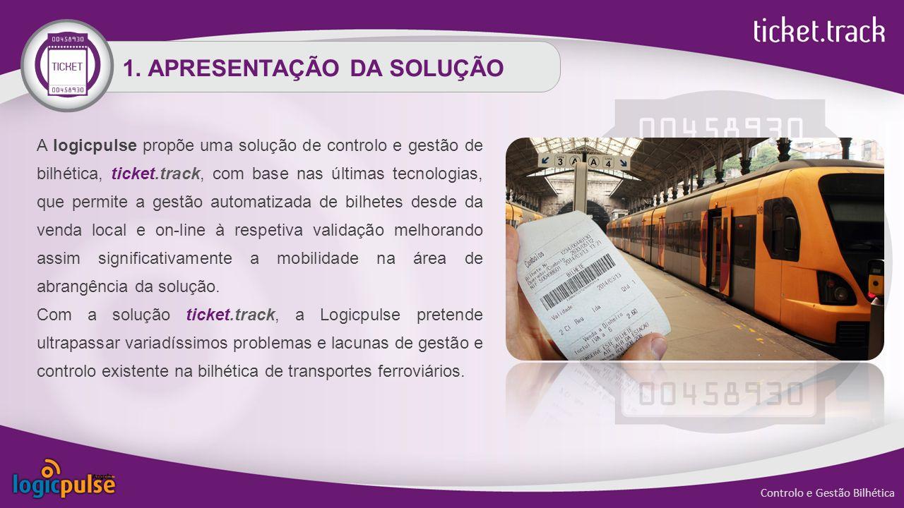 1. APRESENTAÇÃO DA SOLUÇÃO A logicpulse propõe uma solução de controlo e gestão de bilhética, ticket.track, com base nas últimas tecnologias, que perm