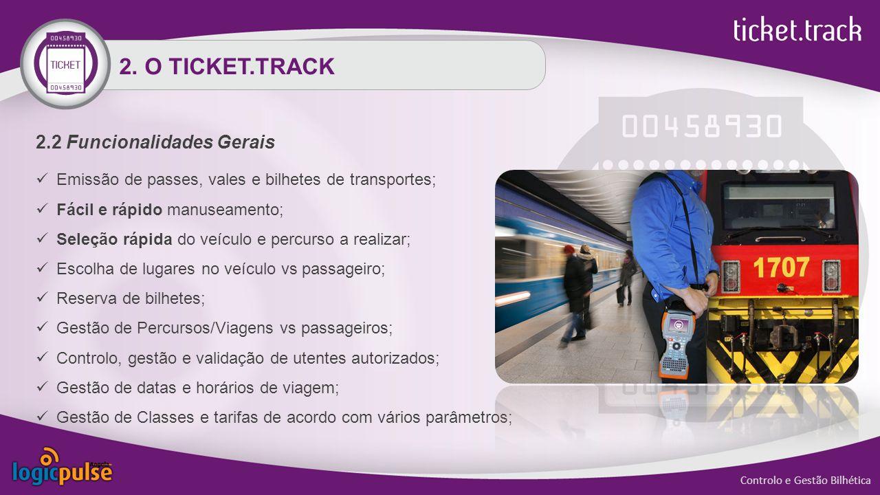 2.2 Funcionalidades Gerais Emissão de passes, vales e bilhetes de transportes; Fácil e rápido manuseamento; Seleção rápida do veículo e percurso a realizar; Escolha de lugares no veículo vs passageiro; Reserva de bilhetes; Gestão de Percursos/Viagens vs passageiros; Controlo, gestão e validação de utentes autorizados; Gestão de datas e horários de viagem; Gestão de Classes e tarifas de acordo com vários parâmetros; 2.
