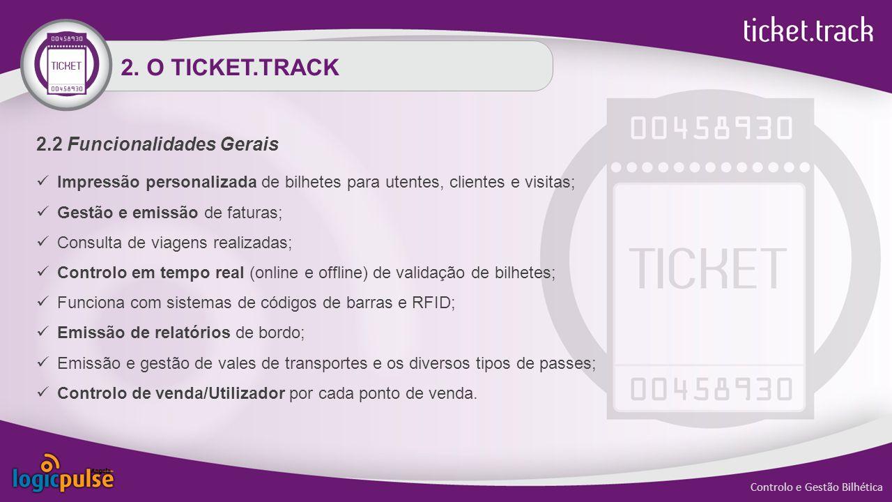 2.2 Funcionalidades Gerais Impressão personalizada de bilhetes para utentes, clientes e visitas; Gestão e emissão de faturas; Consulta de viagens real