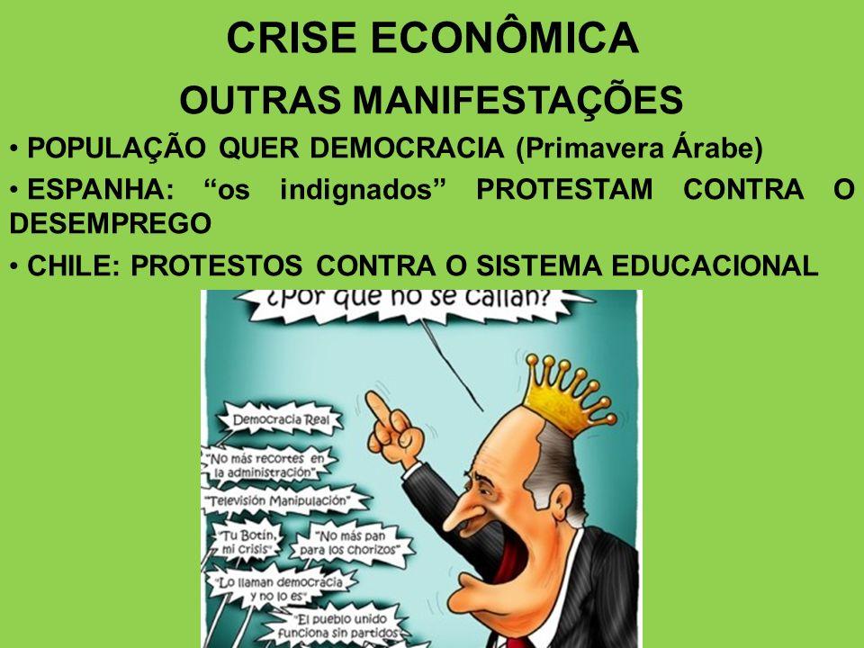 CRISE ECONÔMICA OUTRAS MANIFESTAÇÕES POPULAÇÃO QUER DEMOCRACIA (Primavera Árabe) ESPANHA: os indignados PROTESTAM CONTRA O DESEMPREGO CHILE: PROTESTOS CONTRA O SISTEMA EDUCACIONAL