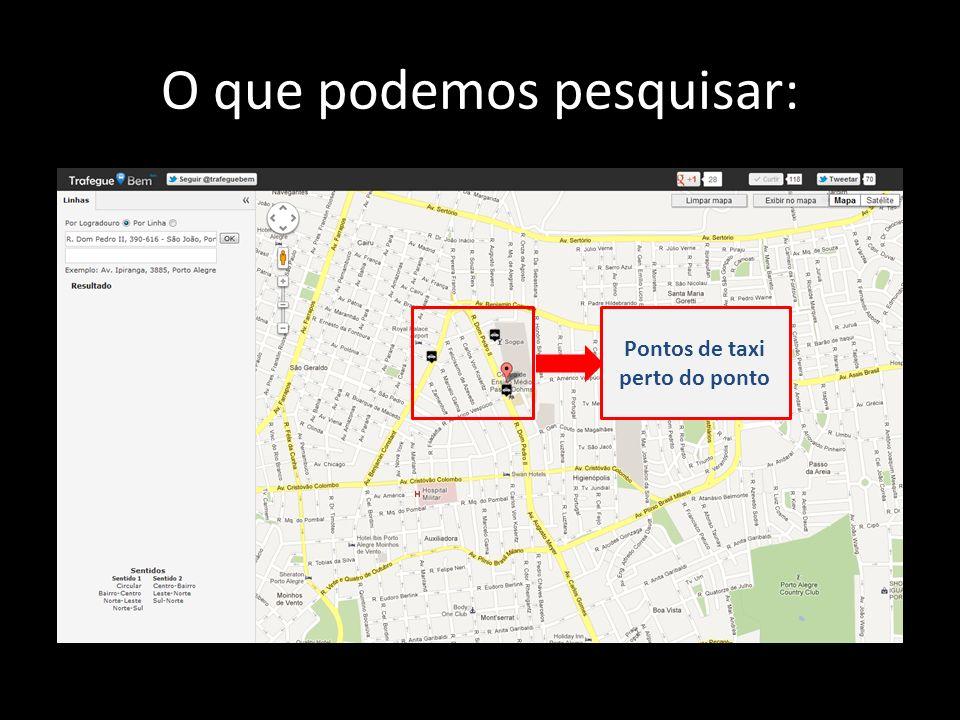 O que podemos pesquisar: Pontos de taxi perto do ponto