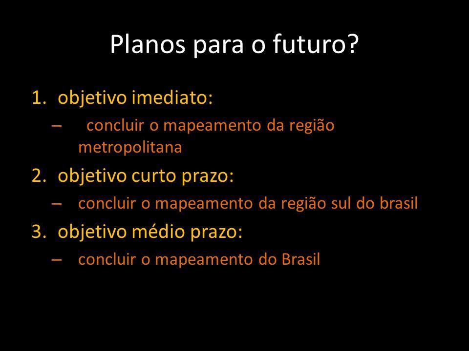 Planos para o futuro? 1.objetivo imediato: – concluir o mapeamento da região metropolitana 2.objetivo curto prazo: – concluir o mapeamento da região s