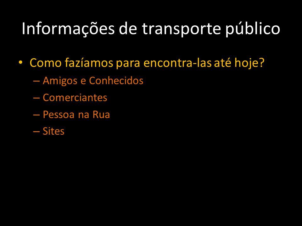 Informações de transporte público Como fazíamos para encontra-las até hoje? – Amigos e Conhecidos – Comerciantes – Pessoa na Rua – Sites