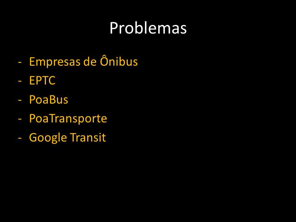 Problemas -Empresas de Ônibus -EPTC -PoaBus -PoaTransporte -Google Transit