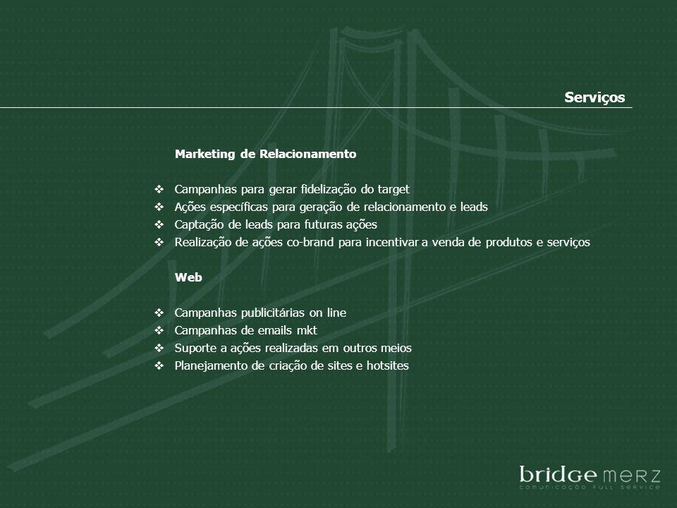 Marketing de Relacionamento Campanhas para gerar fidelização do target Ações espec í ficas para gera ç ão de relacionamento e leads Captação de leads