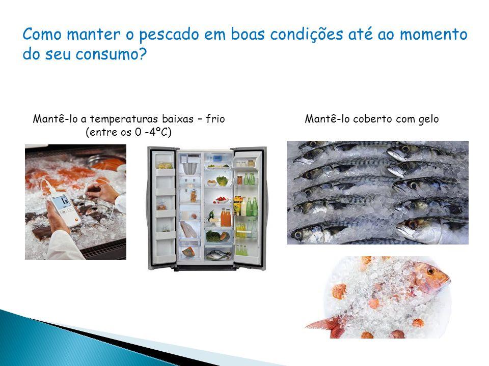 Mantê-lo a temperaturas baixas – frio (entre os 0 -4ºC) Mantê-lo coberto com gelo Como manter o pescado em boas condições até ao momento do seu consumo?