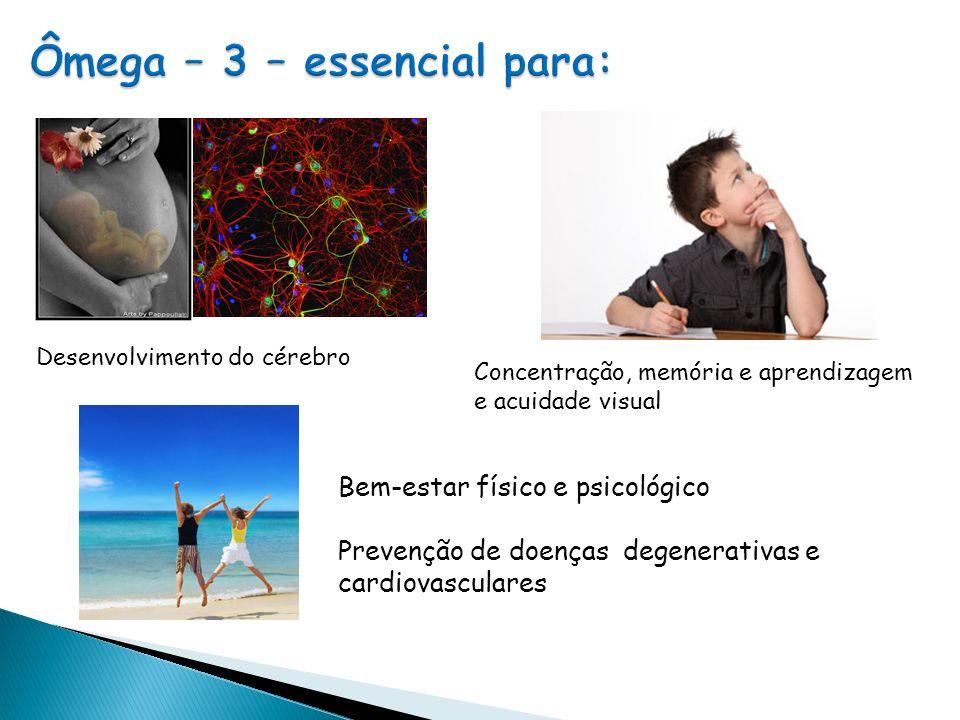 Desenvolvimento do cérebro Concentração, memória e aprendizagem e acuidade visual Bem-estar físico e psicológico Prevenção de doenças degenerativas e cardiovasculares