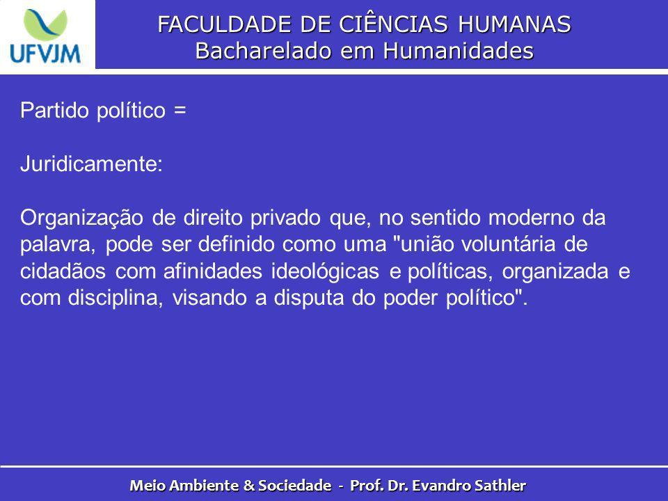 FACULDADE DE CIÊNCIAS HUMANAS Bacharelado em Humanidades Meio Ambiente & Sociedade - Prof. Dr. Evandro Sathler Partido político = Juridicamente: Organ