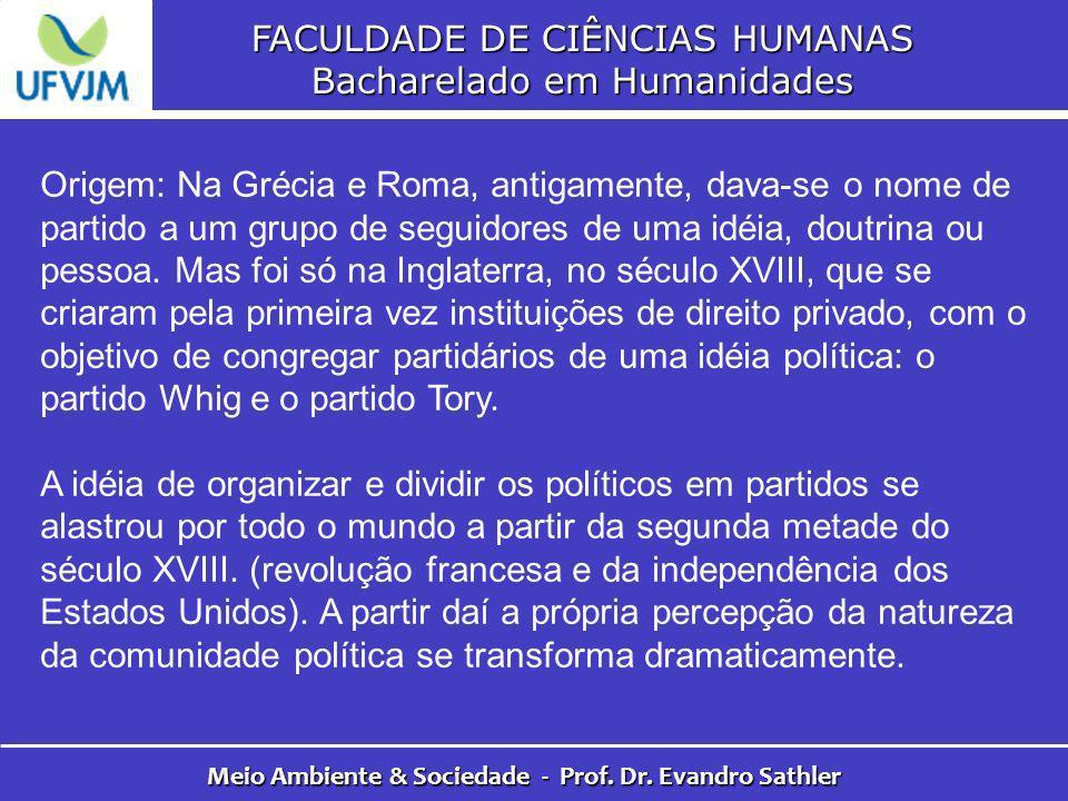 FACULDADE DE CIÊNCIAS HUMANAS Bacharelado em Humanidades Meio Ambiente & Sociedade - Prof. Dr. Evandro Sathler Origem: Na Grécia e Roma, antigamente,