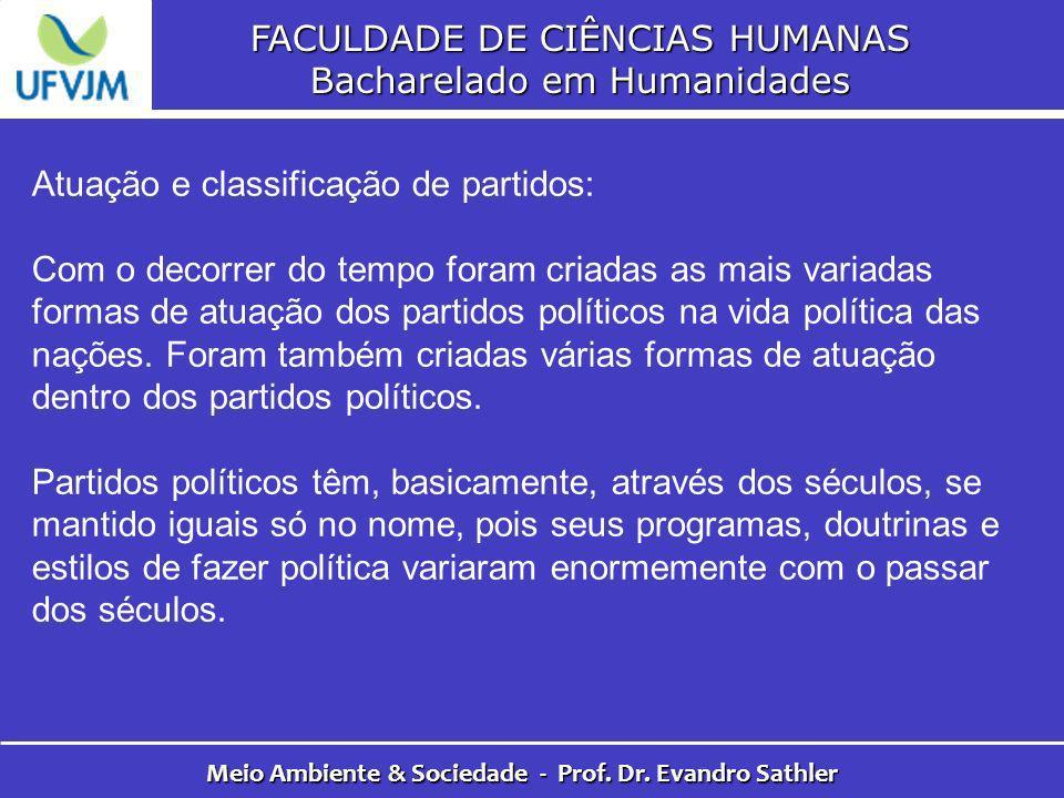 FACULDADE DE CIÊNCIAS HUMANAS Bacharelado em Humanidades Meio Ambiente & Sociedade - Prof. Dr. Evandro Sathler Atuação e classificação de partidos: Co