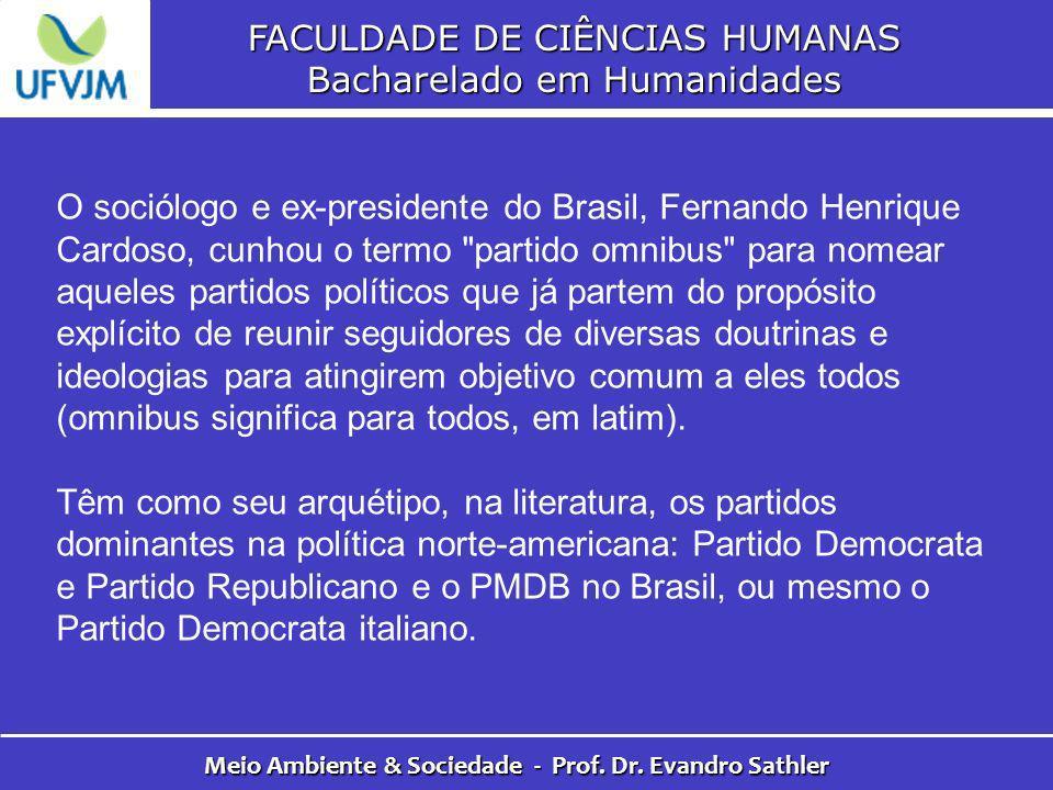 FACULDADE DE CIÊNCIAS HUMANAS Bacharelado em Humanidades Meio Ambiente & Sociedade - Prof. Dr. Evandro Sathler O sociólogo e ex-presidente do Brasil,