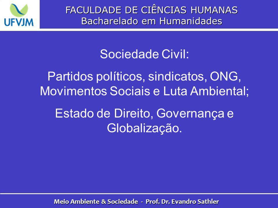 FACULDADE DE CIÊNCIAS HUMANAS Bacharelado em Humanidades Meio Ambiente & Sociedade - Prof. Dr. Evandro Sathler Sociedade Civil: Partidos políticos, si