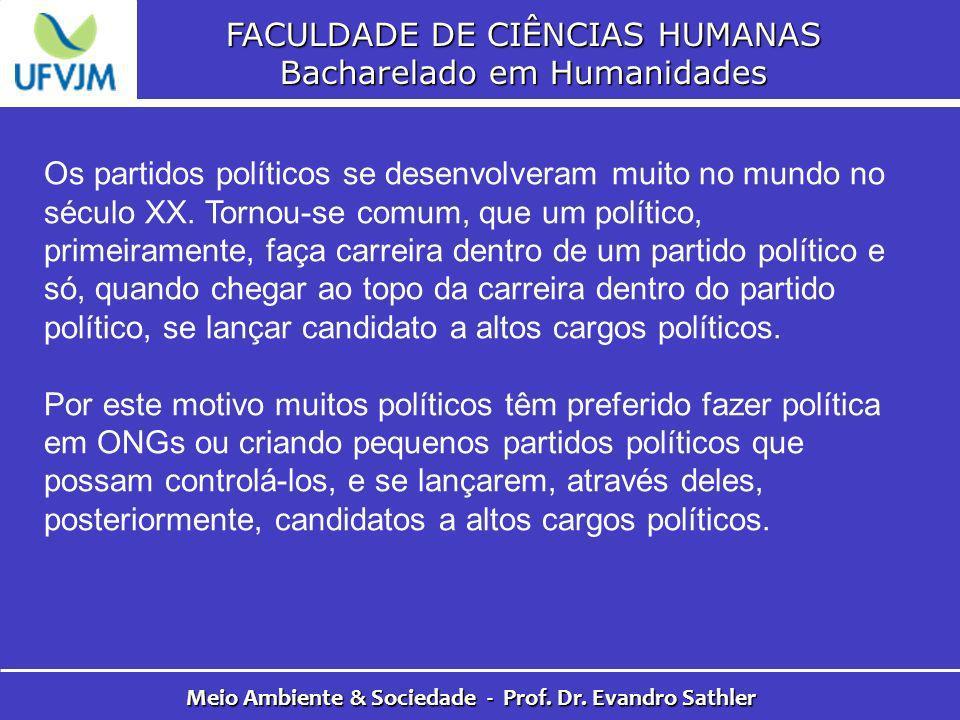 FACULDADE DE CIÊNCIAS HUMANAS Bacharelado em Humanidades Meio Ambiente & Sociedade - Prof. Dr. Evandro Sathler Os partidos políticos se desenvolveram