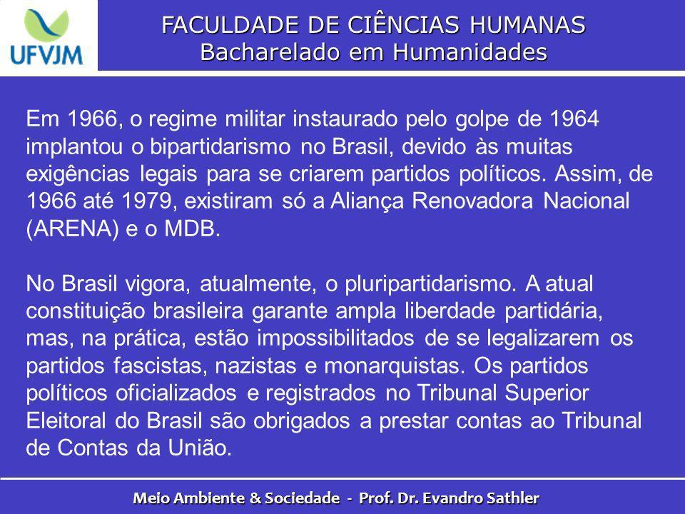 FACULDADE DE CIÊNCIAS HUMANAS Bacharelado em Humanidades Meio Ambiente & Sociedade - Prof. Dr. Evandro Sathler Em 1966, o regime militar instaurado pe