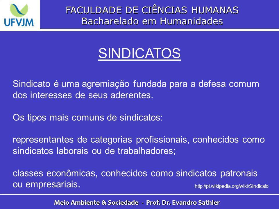 FACULDADE DE CIÊNCIAS HUMANAS Bacharelado em Humanidades Meio Ambiente & Sociedade - Prof. Dr. Evandro Sathler SINDICATOS Sindicato é uma agremiação f