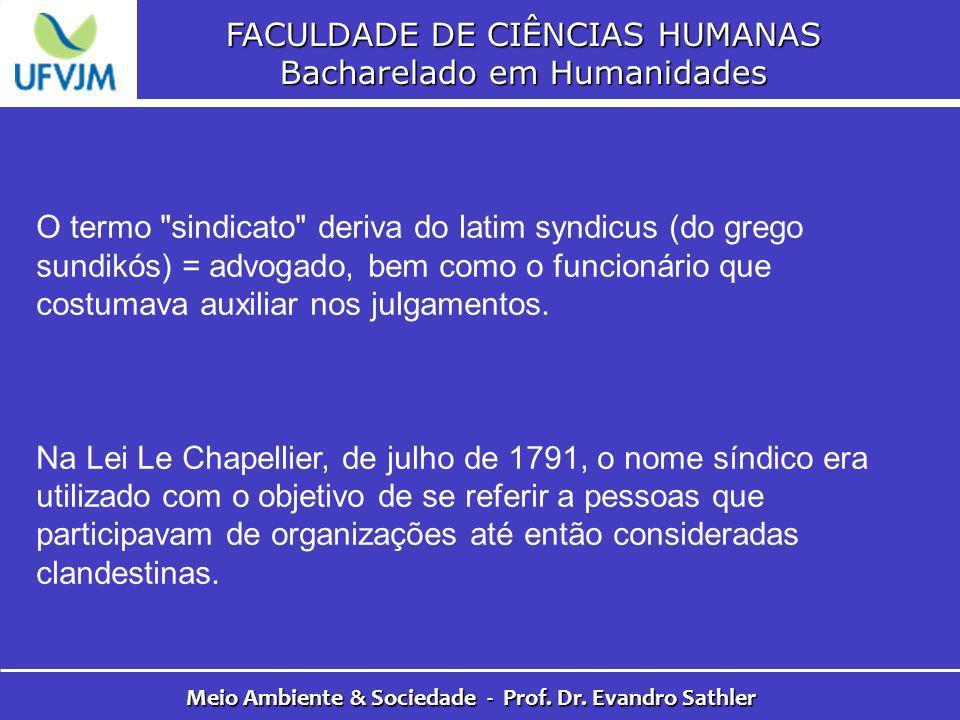 FACULDADE DE CIÊNCIAS HUMANAS Bacharelado em Humanidades Meio Ambiente & Sociedade - Prof. Dr. Evandro Sathler O termo