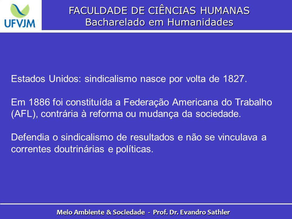 FACULDADE DE CIÊNCIAS HUMANAS Bacharelado em Humanidades Meio Ambiente & Sociedade - Prof. Dr. Evandro Sathler Estados Unidos: sindicalismo nasce por