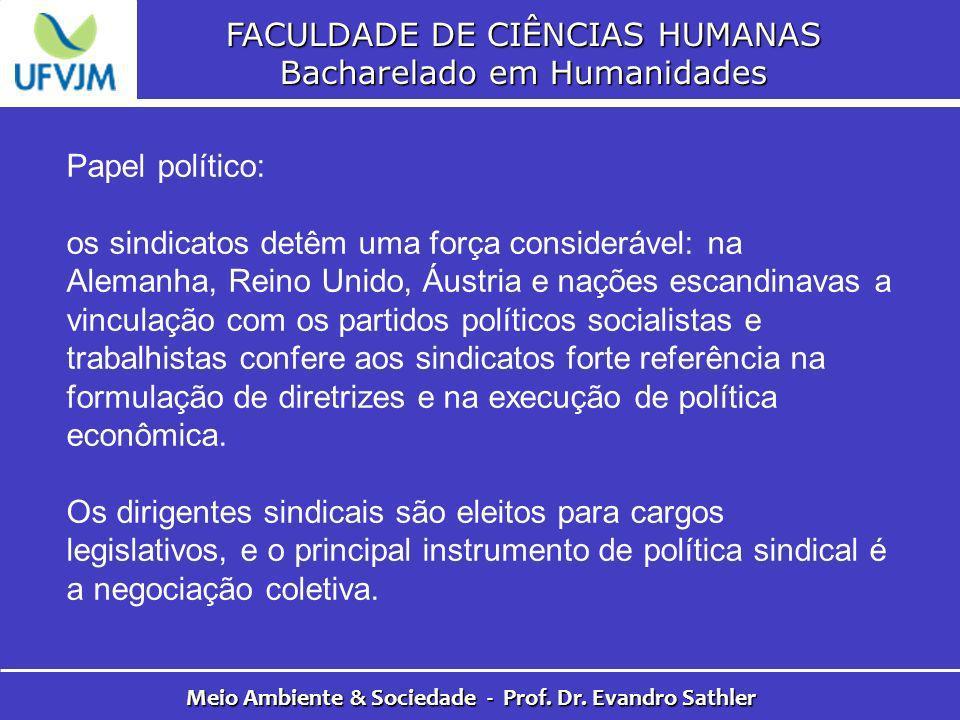 FACULDADE DE CIÊNCIAS HUMANAS Bacharelado em Humanidades Meio Ambiente & Sociedade - Prof. Dr. Evandro Sathler Papel político: os sindicatos detêm uma