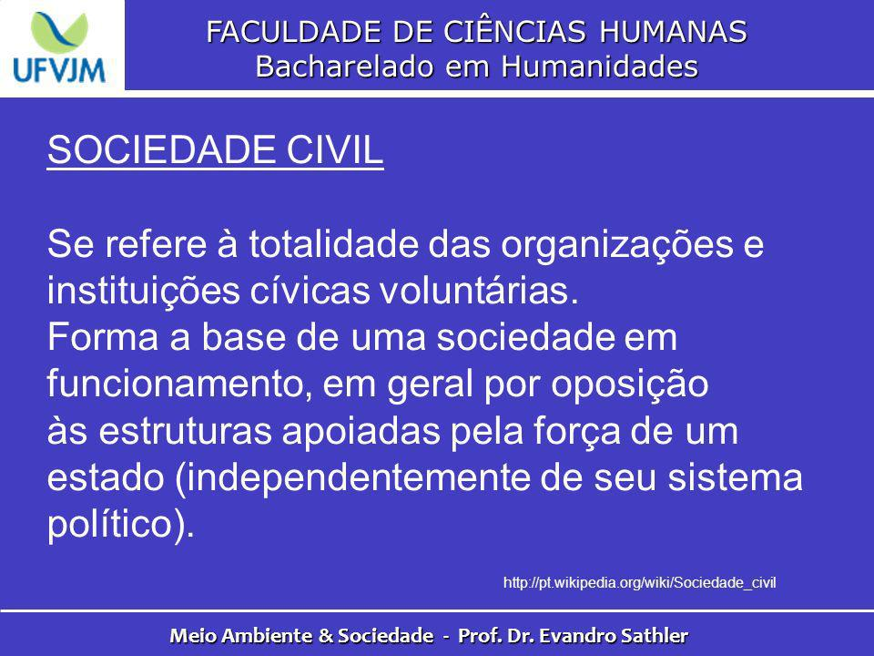 FACULDADE DE CIÊNCIAS HUMANAS Bacharelado em Humanidades Meio Ambiente & Sociedade - Prof. Dr. Evandro Sathler SOCIEDADE CIVIL Se refere à totalidade