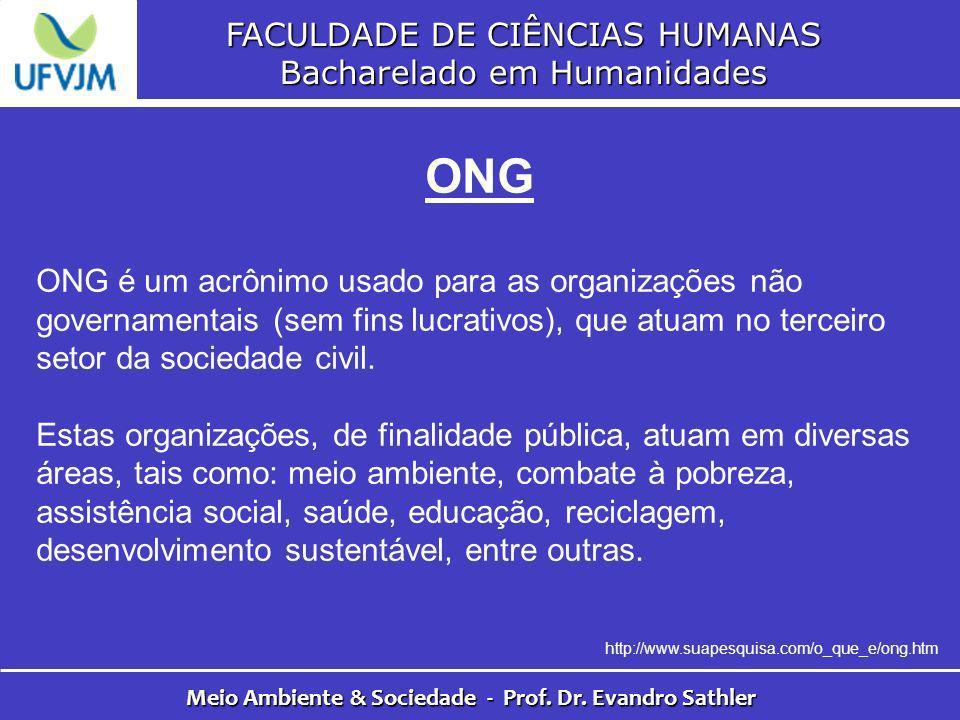 FACULDADE DE CIÊNCIAS HUMANAS Bacharelado em Humanidades Meio Ambiente & Sociedade - Prof. Dr. Evandro Sathler ONG ONG é um acrônimo usado para as org