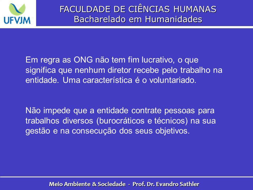 FACULDADE DE CIÊNCIAS HUMANAS Bacharelado em Humanidades Meio Ambiente & Sociedade - Prof. Dr. Evandro Sathler Em regra as ONG não tem fim lucrativo,