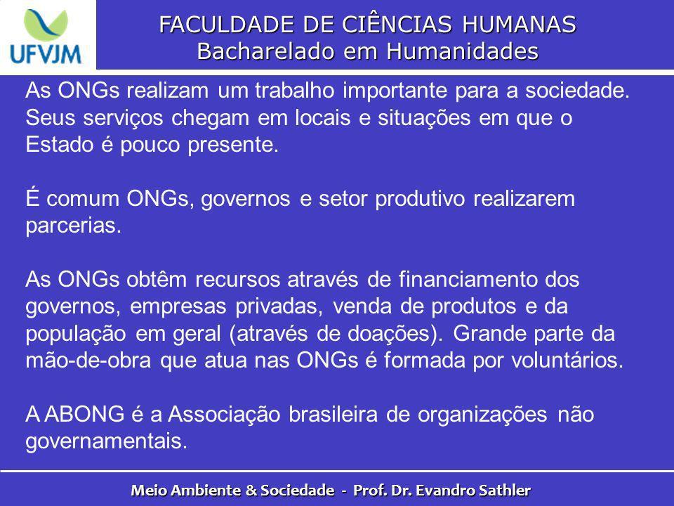 FACULDADE DE CIÊNCIAS HUMANAS Bacharelado em Humanidades Meio Ambiente & Sociedade - Prof. Dr. Evandro Sathler As ONGs realizam um trabalho importante