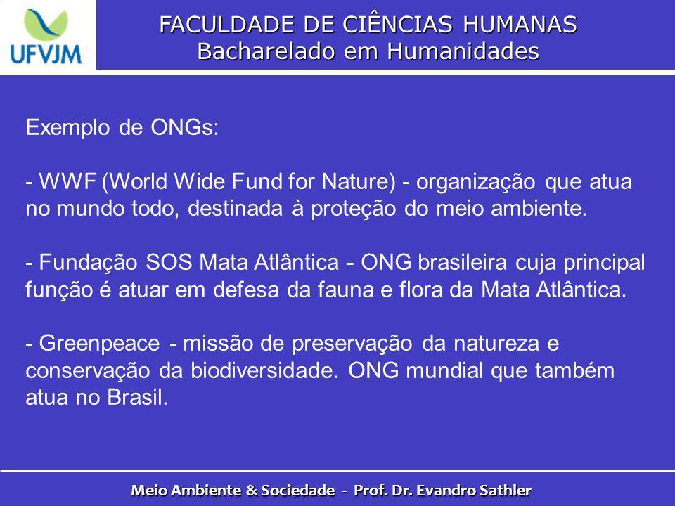 FACULDADE DE CIÊNCIAS HUMANAS Bacharelado em Humanidades Meio Ambiente & Sociedade - Prof. Dr. Evandro Sathler Exemplo de ONGs: - WWF (World Wide Fund