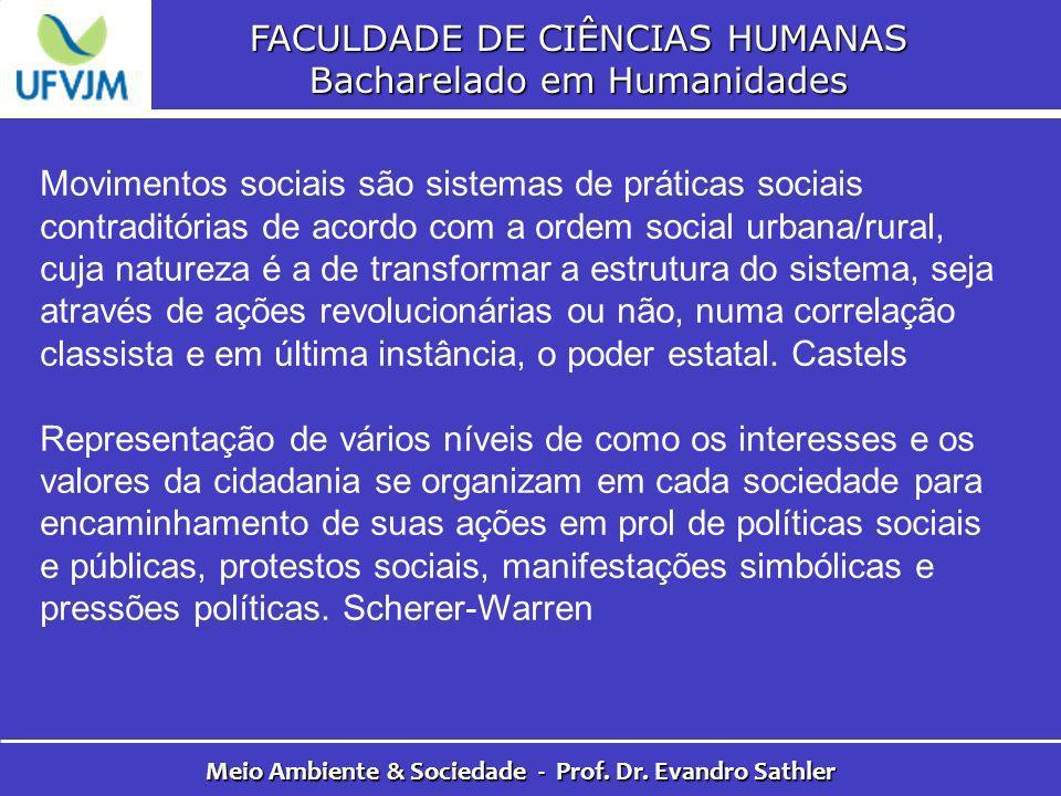 FACULDADE DE CIÊNCIAS HUMANAS Bacharelado em Humanidades Meio Ambiente & Sociedade - Prof. Dr. Evandro Sathler Movimentos sociais são sistemas de prát