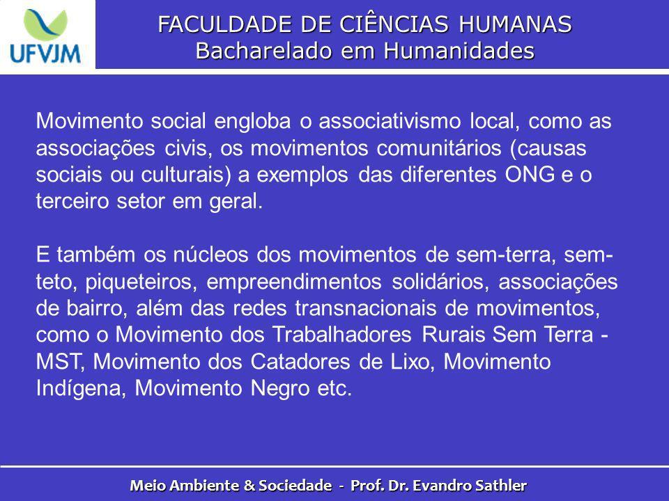 FACULDADE DE CIÊNCIAS HUMANAS Bacharelado em Humanidades Meio Ambiente & Sociedade - Prof. Dr. Evandro Sathler Movimento social engloba o associativis