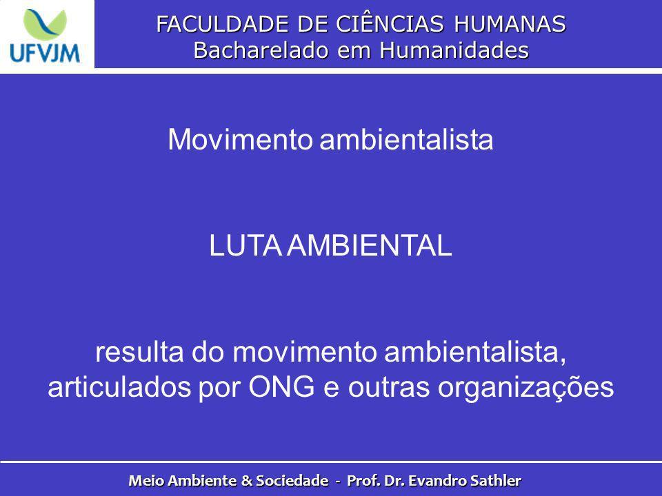 FACULDADE DE CIÊNCIAS HUMANAS Bacharelado em Humanidades Meio Ambiente & Sociedade - Prof. Dr. Evandro Sathler Movimento ambientalista LUTA AMBIENTAL