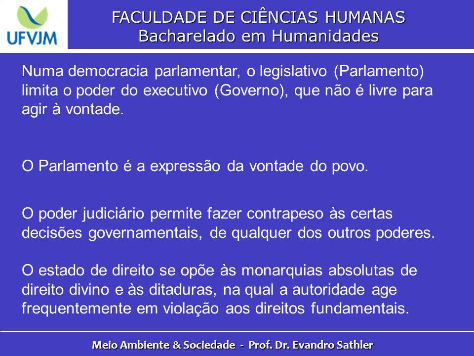 FACULDADE DE CIÊNCIAS HUMANAS Bacharelado em Humanidades Meio Ambiente & Sociedade - Prof. Dr. Evandro Sathler Numa democracia parlamentar, o legislat