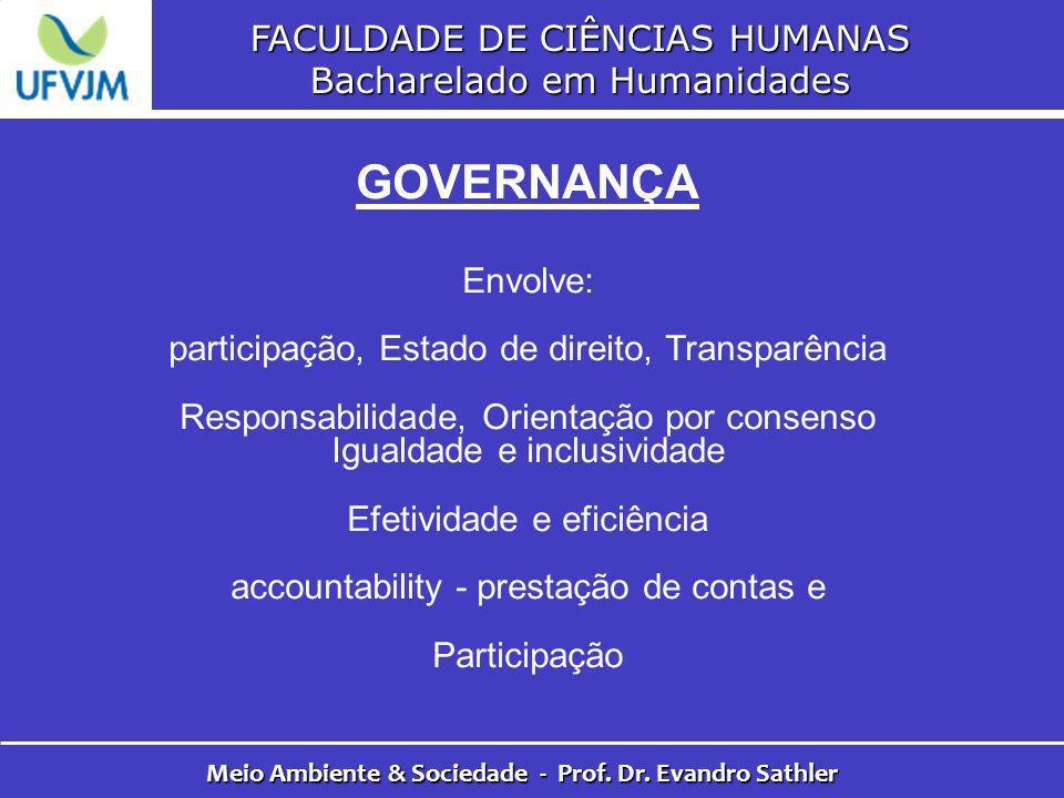 FACULDADE DE CIÊNCIAS HUMANAS Bacharelado em Humanidades Meio Ambiente & Sociedade - Prof. Dr. Evandro Sathler GOVERNANÇA Envolve: participação, Estad