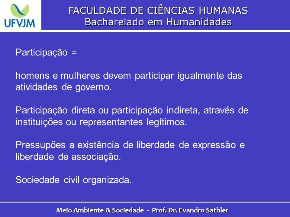 FACULDADE DE CIÊNCIAS HUMANAS Bacharelado em Humanidades Meio Ambiente & Sociedade - Prof. Dr. Evandro Sathler Participação = homens e mulheres devem