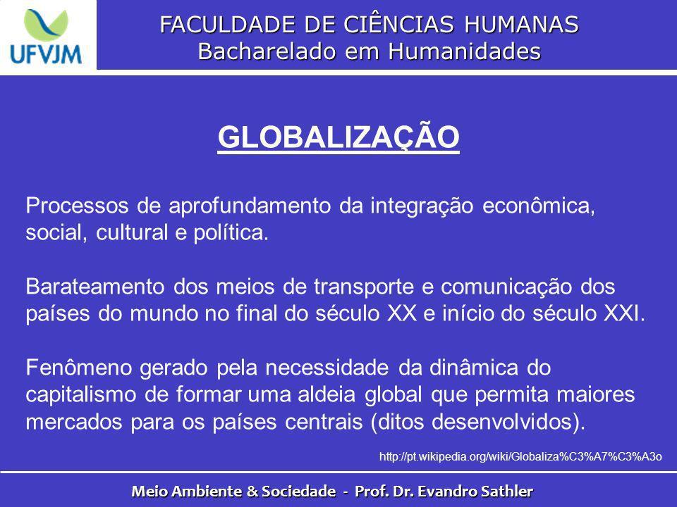 FACULDADE DE CIÊNCIAS HUMANAS Bacharelado em Humanidades Meio Ambiente & Sociedade - Prof. Dr. Evandro Sathler GLOBALIZAÇÃO Processos de aprofundament