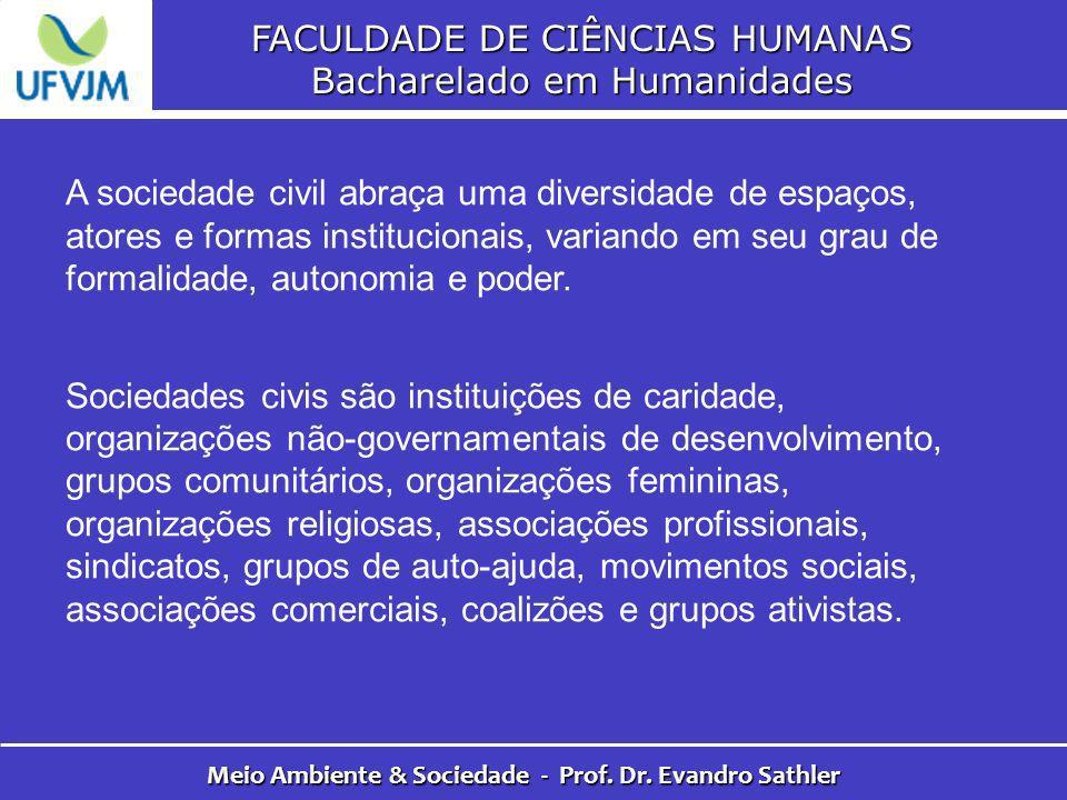 FACULDADE DE CIÊNCIAS HUMANAS Bacharelado em Humanidades Meio Ambiente & Sociedade - Prof. Dr. Evandro Sathler A sociedade civil abraça uma diversidad