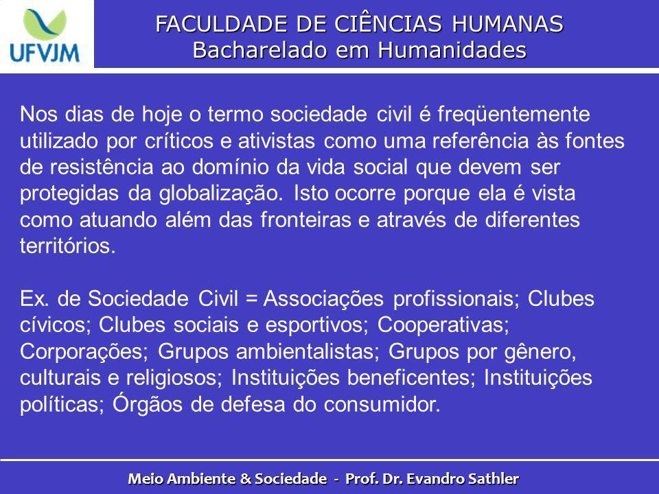 FACULDADE DE CIÊNCIAS HUMANAS Bacharelado em Humanidades Meio Ambiente & Sociedade - Prof. Dr. Evandro Sathler Nos dias de hoje o termo sociedade civi
