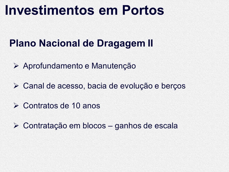 Plano Nacional de Dragagem II Aprofundamento e Manutenção Canal de acesso, bacia de evolução e berços Contratos de 10 anos Contratação em blocos – ganhos de escala Investimentos em Portos