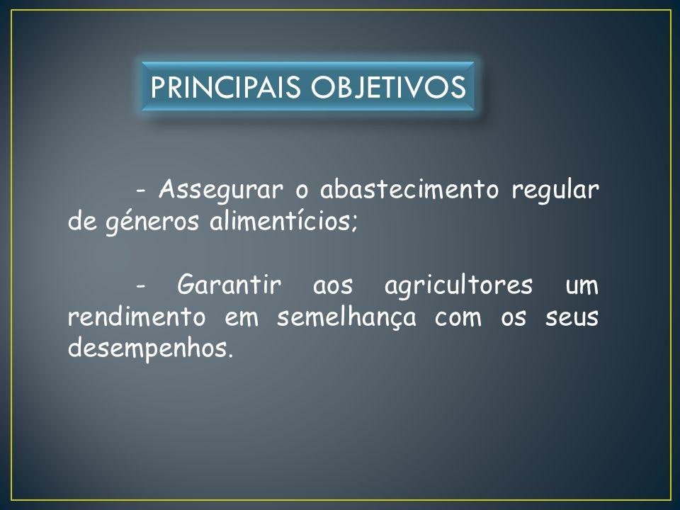 - Assegurar o abastecimento regular de géneros alimentícios; - Garantir aos agricultores um rendimento em semelhança com os seus desempenhos.