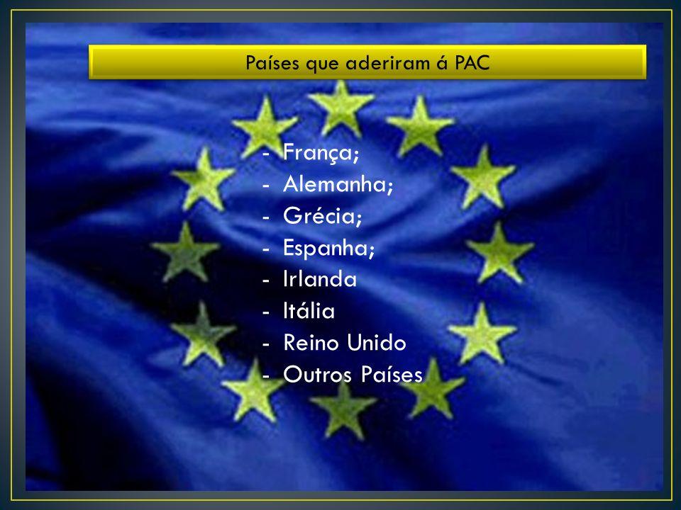 Países que aderiram á PAC -França; -Alemanha; -Grécia; -Espanha; -Irlanda -Itália -Reino Unido -Outros Países