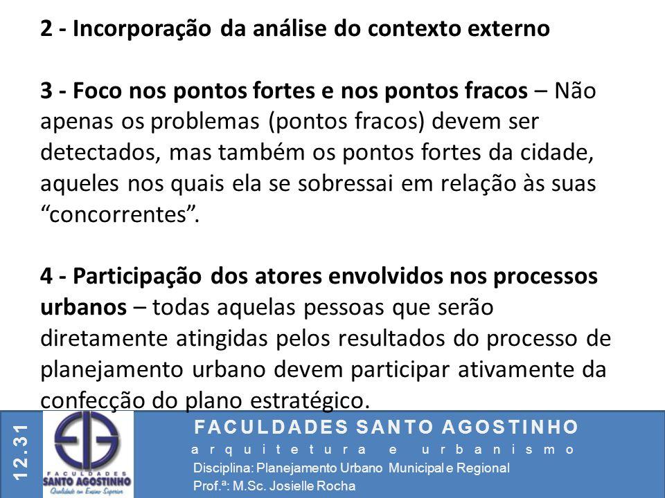 FACULDADES SANTO AGOSTINHO arquitetura e urbanismo Disciplina: Planejamento Urbano Municipal e Regional Prof.ª: M.Sc. Josielle Rocha 12.31 2 - Incorpo