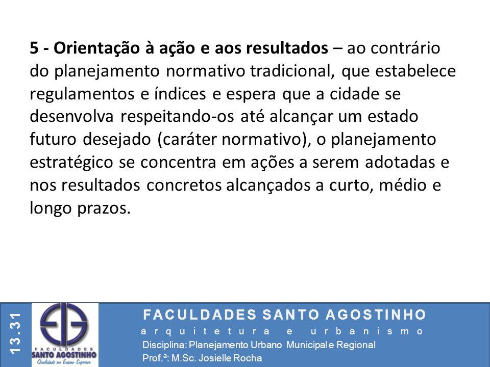 FACULDADES SANTO AGOSTINHO arquitetura e urbanismo Disciplina: Planejamento Urbano Municipal e Regional Prof.ª: M.Sc. Josielle Rocha 13.31 5 - Orienta