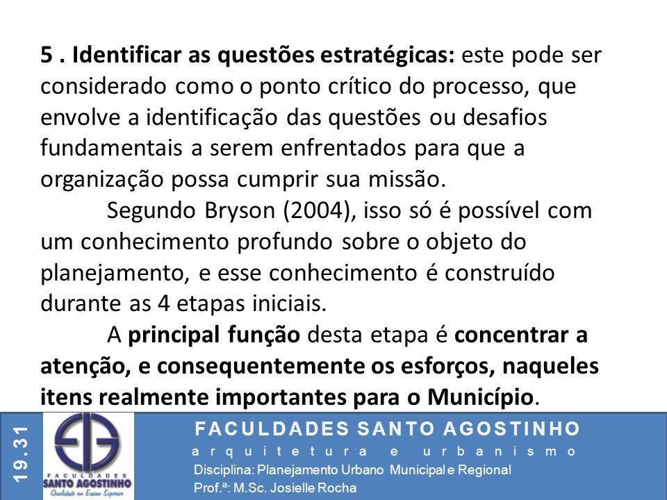 FACULDADES SANTO AGOSTINHO arquitetura e urbanismo Disciplina: Planejamento Urbano Municipal e Regional Prof.ª: M.Sc. Josielle Rocha 19.31 5. Identifi