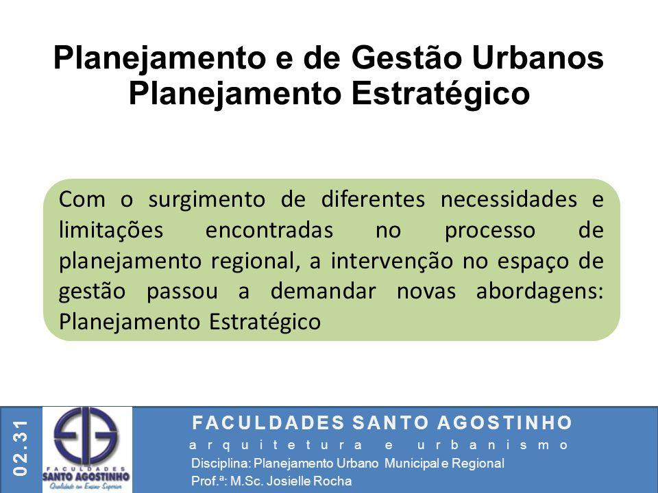 FACULDADES SANTO AGOSTINHO arquitetura e urbanismo Disciplina: Planejamento Urbano Municipal e Regional Prof.ª: M.Sc. Josielle Rocha 02.31 Planejament