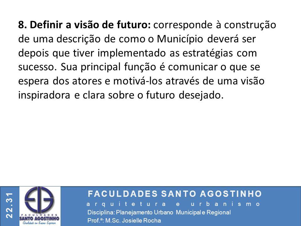 FACULDADES SANTO AGOSTINHO arquitetura e urbanismo Disciplina: Planejamento Urbano Municipal e Regional Prof.ª: M.Sc. Josielle Rocha 22.31 8. Definir