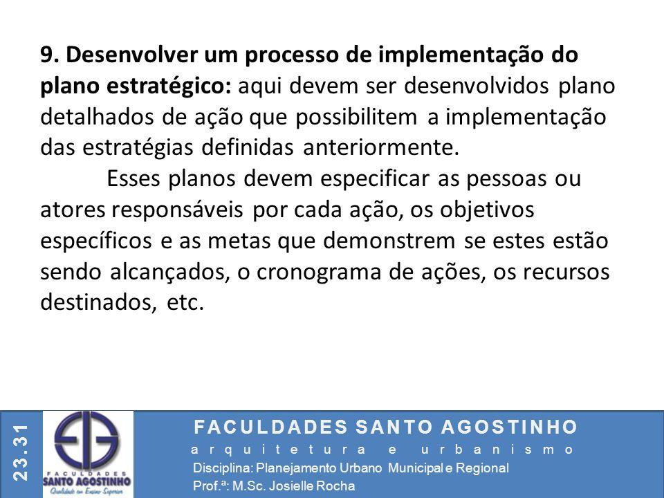 FACULDADES SANTO AGOSTINHO arquitetura e urbanismo Disciplina: Planejamento Urbano Municipal e Regional Prof.ª: M.Sc. Josielle Rocha 23.31 9. Desenvol