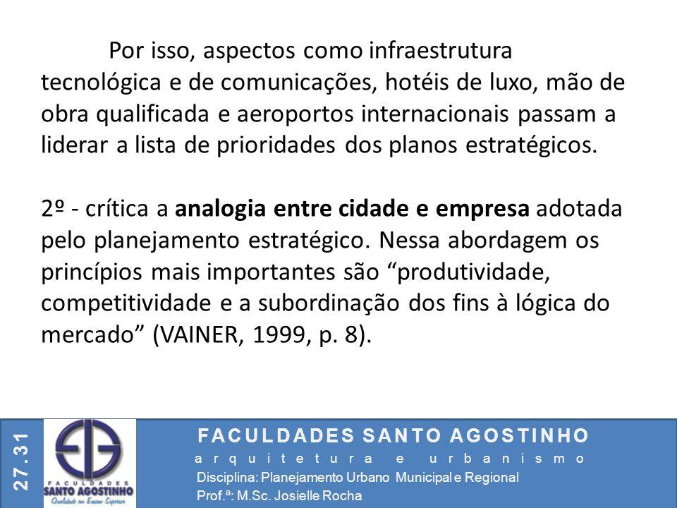 FACULDADES SANTO AGOSTINHO arquitetura e urbanismo Disciplina: Planejamento Urbano Municipal e Regional Prof.ª: M.Sc. Josielle Rocha 27.31 Por isso, a